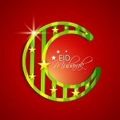 Shiny green crescent moon on red background for the Muslim community festival Eid Mubarak celebrations.
