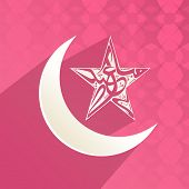 Arabic islamic calligraphy of text Eid Mubarak in star shape with crescent moon on pink background.