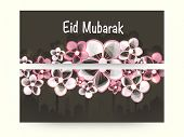 Website header or banner design for Muslim community festival Eid Mubarak celebration with decorated