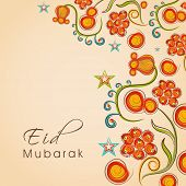 Beautiful colourful floral design decorated greeting card for the occasion of Muslim community festi