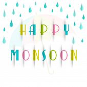 Stylish colorful text Happy Monsoon with blue rain drops on white background.