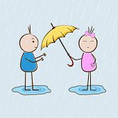 Cute little girl giving yellow umbrella to boy in heavy rain falling nature background.
