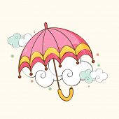 Beautiful pink open umbrella on floral decorated clouds background for monsoon season.