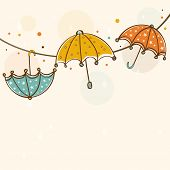 pic of rainy season  - Stylish rainy season concept with colourful umbrellas on abstract background - JPG