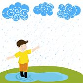 Cute little boy extended his arms to enjoying raining, beautiful monsoon season background.
