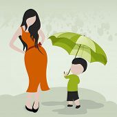 Stylish young girl talking with a cute boy holding umbrella on rainy background.