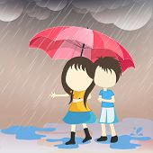 Cute little couple under pink umbrella in heavy raining day, romantic monsoon season background.