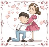Pregnant Announcement Couple Vector Cartoon