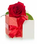 Red gift box with tag