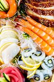 Sea food combination close-up background
