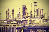 Old Industrial Plant With Gray Sky, Vintage Retro Style.