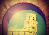 Vintage Image Of Leaning Tower Of Pisa, Italy.