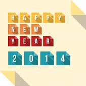 Happy New Year 2014 Flat Paper Card