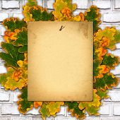 Old Paper Listing On Old Brick Wall With Bright Orange Autumn Leaves
