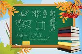 School Autumn Background With Symbols On Blackboard, Books And Yellow Leves, Vector