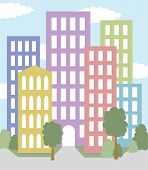 city with multicolored buildings vector