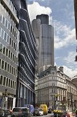 LONDON, UK - JUNE 30, 2014: City of London business aria street