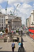 LONDON, UK - JUNE 30, 2014: Square in front of Bank of England, entrance to underground station