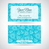 Template of business card with lace flowers