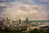 The Cincinnati riverfront shot from Covington, Kentucky.  This image has been treated with a texture