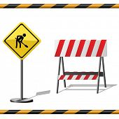Under construction template with warning road sign, barrier and seamless striped tubes.