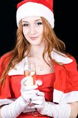 Beautiful Young Woman On Santa Hat