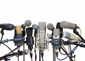 Microphones Prepared For Conference Meeting - Isolated