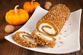 Pumpkin roll with walnuts
