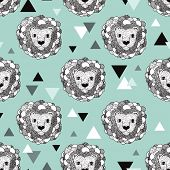 Seamless geometric jungle animal doodle sketch illustration lion background pattern in vector