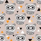 Seamless geometric woodland animal doodle sketch illustration owl background pattern in vector