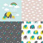 Seamless baby boy elephant illustration pattern collection with rainbow clouds cover invitation desi