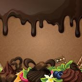 Black chocolate sweets background