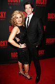 NEW YORK-MAR 13: Actress Orfeh and husband Andy Karl (R) attend the 'Rocky' Broadway opening night a