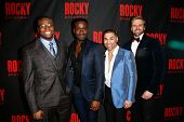 NEW YORK-MAR 13: (L-R) Actors Okieriete Onaodowan, Bradley Gibson, Sam J. Cahn and Adam Perry attend