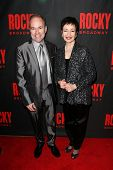 NEW YORK-MAR 13: Composer Stephen Flaherty (L) and lyricist Lynn Ahrens attend the 'Rocky' Broadway