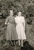 GERMANY, CIRCA FORTIES - Vintage photo of two women outdoor