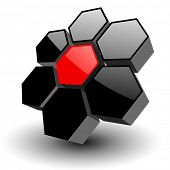 Abstract symbol, icon 3D hexagons, vector.