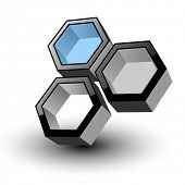 3D hexagons abstract symbol, vector icon.