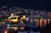 BODRUM, TURKEY - MARCH 14, 2014: Night view to the St. Peter's castle. Built in XV century, now the