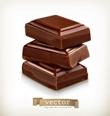 Chocolate pieces, vector illustration
