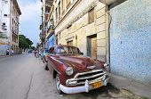 HAVANA, CUBA - JULY 9, 2010.  Vintage classic American car, commonly used as private taxi parked in