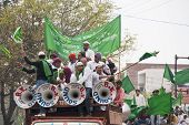 Truck Loads Of Loud Celebrating Young Muslims In Agra.