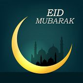 Golden crescent moon on mosque silhouette green background for Muslim community festival Eid Mubarak
