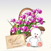 Beautiful bouquet with cute teddy bear on shiny grey background for Muslim community festival Eid Mu