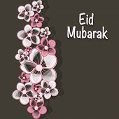 Beautiful pink flowers decorated greeting card on brown background for Muslim community festival Eid