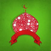 Beautiful floral decorated red mosque with ribbon on green background for Muslim community festival