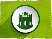 Beautiful green mosque design in white circle on grungy green background for Muslim community festiv