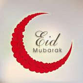 Beautiful crescent moon decorated with red roses on grey background for Muslim community festival Ei