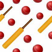 Cricket ball bat seamless backgroung