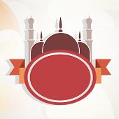 Beautiful brown mosque and blank badge for your message.